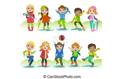 Cute Happy Kids Playing in the Rain Set, Boys and Girls Having Fun Outdoors Vector Illustration