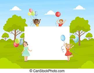 Cute Happy Kids with Colorful Balloons Holding Blank Empty Banner Vector Illustration