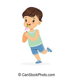 Cute happy little boy character eating ice cream cartoon vector Illustration