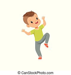 Cute happy little boy dancing in casual clothes vector Illustration on a white background