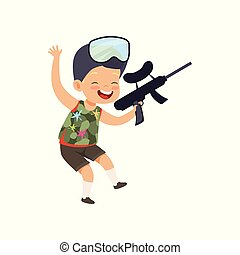 Cute happy little boy playing paintball with gun vector Illustration on a white background