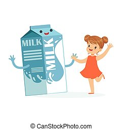 Cute happy little girl and funny milk carton box with smiling human face playing and having fun, healthy childrens food cartoon characters vector Illustration