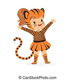 Cute happy little girl dressed as a tiger cub, kids carnival costume vector Illustration