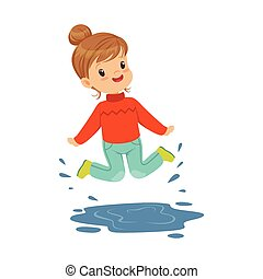 Cute happy little girl playing on a puddle wearing rubber boots cartoon vector Illustration