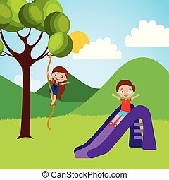 cute happy little kids playing slide climbing tree rope