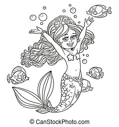 Cute happy little mermaid girl outlined isolated on a white background