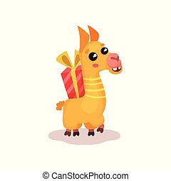 Cute happy llama alpaca cartoon character with gift box vector Illustration on a white background