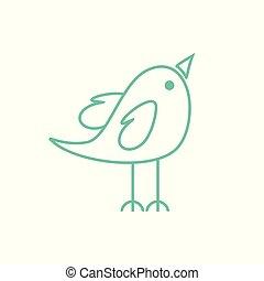 Cute Happy Male Bird Tosca Green Coloured Vector Symbol Character Graphic Design