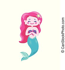 Cute happy mermaids with pink hair and blue tail, hold in hand starfish. Character cool design. Sea ocean theme. Vector illustration isolated