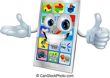 Cute happy mobile phone person