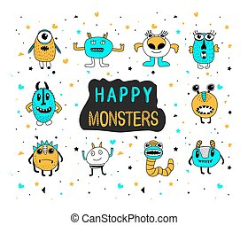 Cute Happy Monster Set. Doodle cartoon monsters