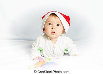 893f1517a Newborn baby portrait, happy new born kid boy in christmas green hat.