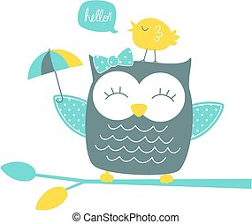 happy owl - cute happy owl and singing canary on branch...