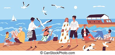 Cute happy people walking along quay or seafront and feeding seagulls against sea or ocean with sail boats on background. Vacation at seaside resort. Flat cartoon colorful vector illustration.