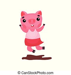 Cute happy pig character in a dress jumping in a puddle of mud, funny cartoon piggy animal vector Illustration