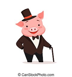 Cute happy pig dressed up in black tuxedo and hat standing with walking stick, funny cartoon animal dressed in human clothes vector Illustration