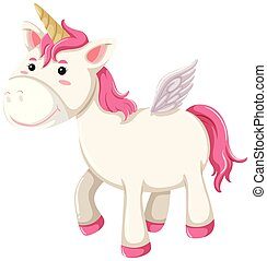 Cute happy pink unicorn