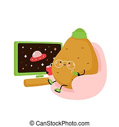 Cute happy potato chill and watch tv. Isolated on white background. Vector cartoon character illustration design, simple flat style. Potato concept