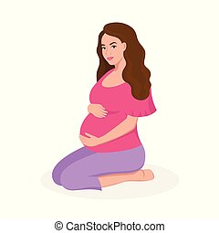 Cute happy pregnant woman isolated on white background vector flat illustration.