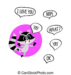 Cute happy raccoon character with word Yay in speech bubble