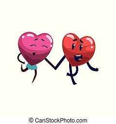 Cute happy red and pink hearts characters running with holding hands, funny couple in love. Happy Valentines Day concept cartoon vector Illustration