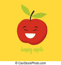 happy red apple