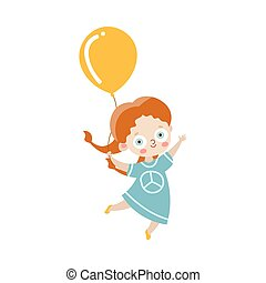 Cute happy red-haired girl holding the balloon in a blue dress with a peace symbol. Vector illustration in flat cartoon style.
