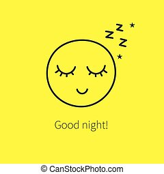 Cute happy sleeping smiley with closed eyes and long...