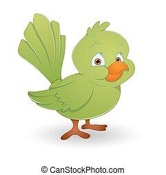 Green Bird - Cute Happy Small Green Bird Character Face...