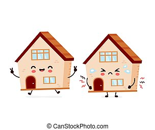 Cute happy smiling and sad house