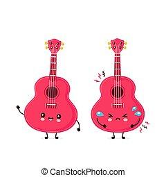 Cute happy smiling and sad ukulele guitar. Vector flat ...
