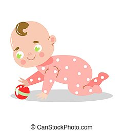 Cute happy smiling baby in pink pajama playing with the small ball. Vector illustration in flat cartoon style.