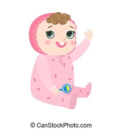 Cute happy smiling baby with kinky hair sitting in pink pajama. Vector illustration in flat cartoon style.