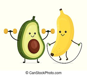 Cute happy smiling banana and avocado doing exercises Vector...
