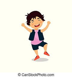 Cute happy smiling boy vector Illustration on a white background