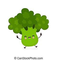 Cute happy smiling broccoli vegetable