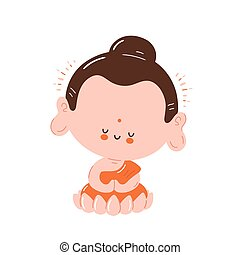 Cute happy smiling Buddha meditate
