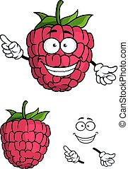 Cute happy smiling cartoon raspberry fruit