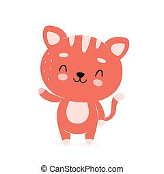 Cute happy smiling cat character.