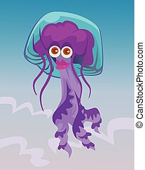 Cute happy smiling female jellyfish character. Vector flat cartoon illustration