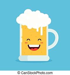 Cute happy smiling fun drunk beer glasses.