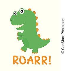 Cute happy smiling funny dinosaur. Vector