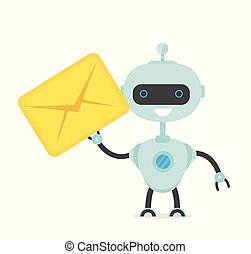 Cute happy smiling funny robot chat bot
