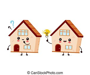 Cute happy smiling house with question mark