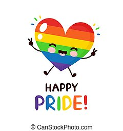 Cute happy smiling LGBT heart character. Happy pride day ...
