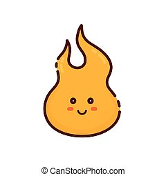 Cute happy smiling tongue of flame logo