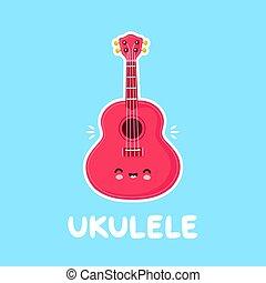 Cute happy smiling ukulele guitar. Vector flat cartoon ...