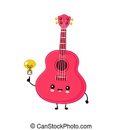 Cute happy smiling ukulele guitar with light bulb. Vector ...