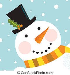 Cute happy Snowman face with snowing background - Happy...