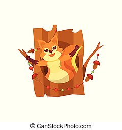 Cute happy squirrel sitting in hollow of tree vector Illustration on a white background